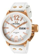 TW Steel Men's CE1035 CEO Canteen 45 mm White Dial White Leather Strap Watch