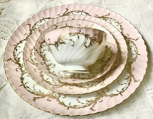 Antique Royal Tettau Elegance Porcelain Piece Set Pink & Gold Bavaria