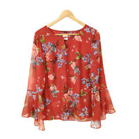 CAbi Devoted Top Blouse Tunic Red Women's Small Floral Layered Key Hole 3590