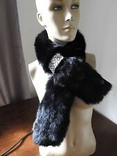 black real genuine fox fur pelt collar scarf satin lining coat jacket