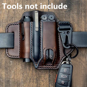 US Men Multitool Leather Sheath EDC Pocket Organizer Storage Belt Waist Bag Gift