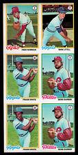 1978 Topps 6 CARD UNCUT SHEET Frank White Gene Garber Fred Norman Mark Littell