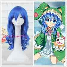 DATE A LIVE Yoshino Anime Hair Blue Long Curly Women Girls Cosplay Wig CC134
