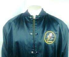 Vintage SEABEES Navy Satin Jacket Auburn Sportswear Blue XL Made In USA 80s