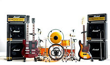 Led Zeppelin Miniature Guitars and Drum Set C with Timpani, Gong, Amps & Mic