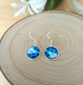 Ocean surf watercolour earrings. Sterling silver 925 earring hooks & Gift box.