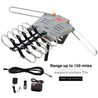 150 Miles TV HDTV 1080P Outdoor Antenna Amplified Motorized HD 36dB UHF VHF FM
