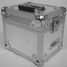 "1 x Neo Aluminio registros 7 ""Dj Plata almacenamiento para 100 Vinilo Lp Vuelo llevar Funda"
