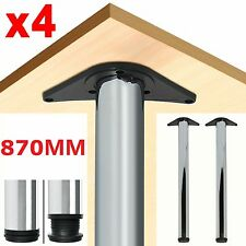 4Pcs 870mm Chrome Adjustable Breakfast Bar Table Legs Kitchen Worktop Support
