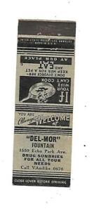 """""""Del-Mor"""" Fountain   Matchcover  1559 Echo Park Ave.  Menu prices on back"""