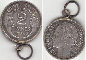 Pendentif Monnaie 2 Francs Morlon 1939