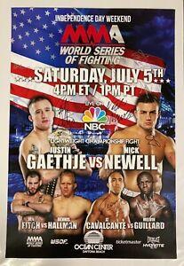 WSOF 11 Autographed Event Poster, Justin Gaethje, Nick Newell, Hallman, UFC, SBC