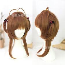 Card Captor Sakura Cosplay 2 Braids Bob Wigs Brown Straight Hair Wig Hairpiece