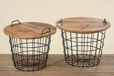 """Set of 2 Table """" Flexo """" Wood/Metal, Brown/Black"""