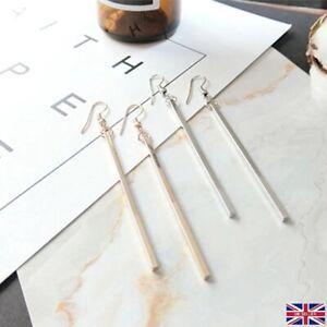 Gold / Silver Plated Long Bar Drop Dangle Geometric Simple Statement Earrings UK