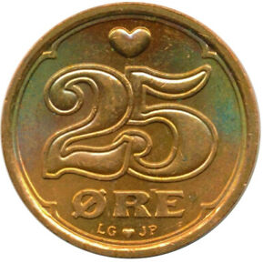 Coin / Denmark / 25 ORE 1991 UNC LUSTRE   #WT13480