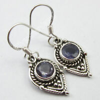 """925 Sterling Silver Classic VIOLET IOLITE Ethnic Indian Jewelry Earrings 1.3"""""""