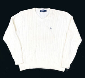 Polo Ralph Lauren White Cable Knit Pullover Sweater Cotton Ivy Trad Pony L