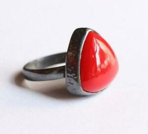 5.5 Carat 925 Sterling Silver Handmade Coral/Munga Ring for Men And Woman