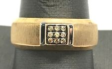Men's Sterling Silver Gold Tone Smoky Brown Quartz Square Matte Band Ring 10.5