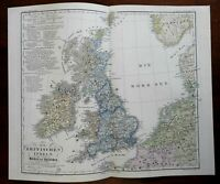 Languages & Peoples of the British Isles 1852 Berghaus ethnographic map