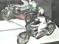 BELLE REEDITION JOUET MECANIQUE 1920 EN TOLE : MOTO SIDE CAR 18CM + PASSAGERS