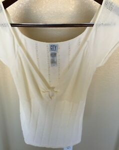 (A) City DKNY Plus Size XL Cream sweater Blouse Top Shirt