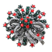 Seasonal Wreath Flower Brooch Pin Antique Vintage Design Merry Christmas Gift