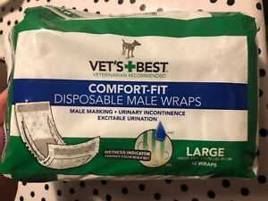 Vet's Best Comfort Fit Disposable Male Dog Diapers|Absorbent Leak Proof Fit 12ct