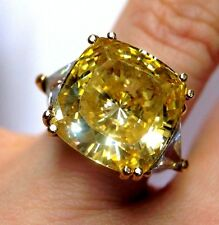 14K Gold 8.5CT Canary Yellow Cushion and Trillion Engagement Ring Size 5