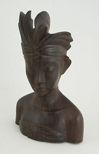 "Bali Wood Carved Bust Head Face Figure Signed Ida Bg Rai Sanur Bali 8.5"" (B4L)"