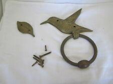 Hummingbird Brass Door Knocker With Leaf & Brass Screws Very Rare Vintage