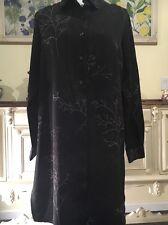 Newport News shirt dress size 14 Black-White &Brown Branch Pattern