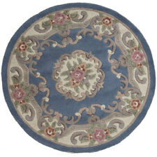 Flair Rugs Lotus Premium Aubusson Traditional 100 Wool Round Rug 120 Cm Blue 120cm Diameter