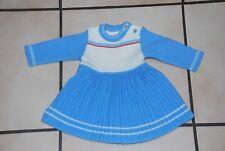 Bébé Robe en lainage bleu et blanc Manches longues T62cm ou 0/3 mois TB Etat!