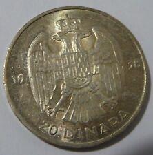 Kingdom Yugoslavia – 20 dinara Silver 1938 XF