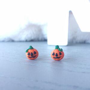 Halloween Pumpkin Handmade Polymer Clay Earrings Adorable Pumpkin Stud Earrings