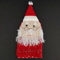 Vintage Christmas Santa Claus Oven Mitt Potholders Wall Hanger 100% Cotton