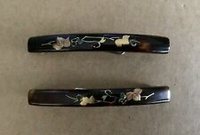 Two Vintage Japanese Tortoise-Shell Barrettes with Gold Inlay Design