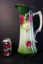 """Antique Tirschenreuth Porcelain Bavaria Germany Pink Roses Pitcher Ewer 13.5"""""""