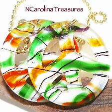 ORANGE GREEN WHITE GLASS CEILING FAN SWITCH PULL PEACE SIGN SYMBOL LARGE PAIR