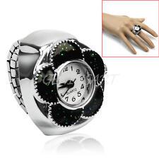 1pc Stylish Elastic Band Mini Black Flower Dial Quartz Metal Finger Ring Watch