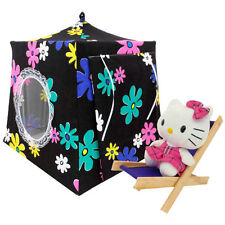 Black, flower print Toy Play Camping Pop Up Tent, 2 Sleeping Bags, handmade