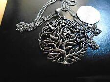 """MEDALLION SIZE SILVER Celtic Tree of Life pendant necklace Exquisite 2.5"""" high"""