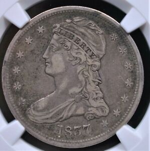 "1837 REEDED EDGE CAPPED BUST HALF ""50 CENT"" REVERSE NGC VF30 NICE AND ORIGINAL"