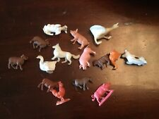 15 RARE TINY PLASTIC ANIMALS ASSORTED 50'S 60'S 70'S small 1cm Approx Airfix Etc