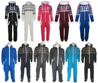 Mens Womens Unisex Aztec Plain Hooded Jumpsuit All In One Piece Loungewear Gift