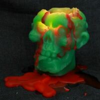 Zombie Candle Skull Melting Head Halloween Gifts Bleeding Blood Green