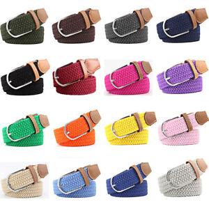 Men Women Canvas Woven Elastic Belt Classic Pin Buckle Waistband Multi-Color
