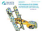 Quinta QD32071 1/32 Albatros D.III OAW 3D-Printed Interior for Roden kit